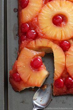 Une belle adaption de la recette classique de renversé à l'ananas. Le goût d'érable est subtil, mais présent. Et surtout, il y a beaucoup de cerises.