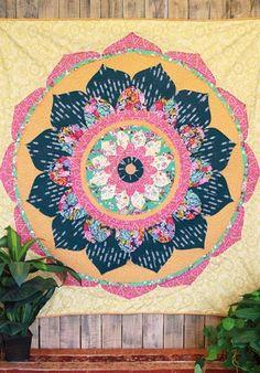 "= free pattern = Mandala quilt, 61 x 61"", at Art Gallery Fabrics (PDF download)"