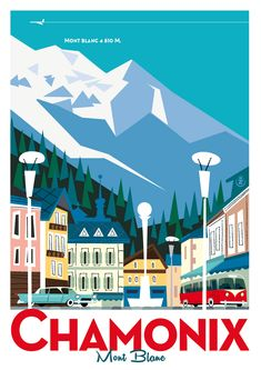 Travel ilustration design graphics vintage posters 17 new Ideas Ski Vintage, Vintage Ski Posters, Retro Poster, Vintage Postcards, Old Posters, Illustrations Vintage, Chamonix Mont Blanc, Tourism Poster, Travel Illustration
