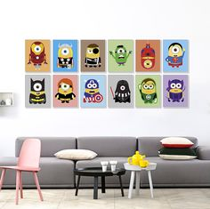 Pop Minions Superheros Cartoon Painting On Canvas Funny Avengers Batman Anime Movie Art Print Poster Wall Picture For Kids Room Kids Room Paint, Kids Room Wall Art, Wall Art Decor, Room Decor, Room Kids, A4 Poster, Poster Wall, Poster Prints, Film Poster