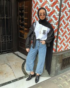 Hijab + Straight Leg Jeans (leenalghouti) - Another! Modest Fashion Hijab, Modern Hijab Fashion, Street Hijab Fashion, Casual Hijab Outfit, Hijab Fashion Inspiration, Muslim Fashion, Fashion Outfits, Modest Outfits Muslim, Hijab Wedding