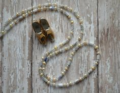 Queen Crown Jewels Renaissance Gypsy Chain Necklaces with yellow pearls, shell and crystals, by AmbientAtelier