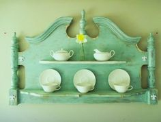 Headboard repurposed as a shelf - I love this - we've got some great headboards to use for projects at Curiosity Shop, Irving, TX www.curiosityshoptx