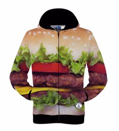 >> Click to Buy <<  New fashion Men's zipper jacket print Delicious beef hamburger 3d sweatshirts autumn hoody tops lovely hooded hoodies #Affiliate