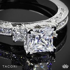 A trailblazing style on a classic princess-cut solitaire. Channel-set princess-cut diamonds give the ceiling of the band a streamlined look Tacori Classic Crescent Channel-Set Three Stone Engagement Ring by Sweetpea888