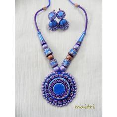 Terracotta Jewellery_Royal Blue Flower      maitri_crafts@yahoo.com  http://www.facebook.com/maitri.crafts