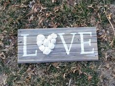 Barn board home decor//hand painted//Love//burlap flowers//wedding gift//shower gift by SignsOfHappinessInKc on Etsy