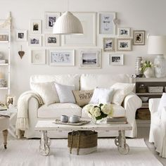 All white frames on white walls.White style ideas for your home, including bedrooms, living rooms and kitchens