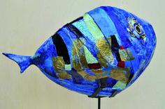 Pesce. Olio su cartapesta. 40 x 100  cm.