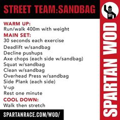 WOD Sandbag Workout, 300 Workout, Workout Plans, Spartan Race Training, Spartan Workout, Spartan Trifecta, Obstacle Course Training, Running Workouts, Running Race