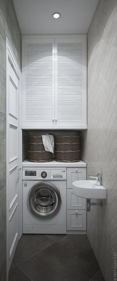 Uma máquina de lavar roupa está instalada no . Small Laundry Rooms, Laundry Room Storage, Laundry Room Design, Laundry In Bathroom, Small Bathroom, Laundry Nook, Upstairs Bathrooms, Cuisines Design, Bathroom Interior Design