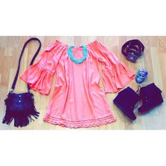 """Our outfit of the day! """"Fara"""" all items available online. Come into Small Town Gypsy or call to order. 806-356-5006  http://www.smalltowngypsy.com/catalog.php?category=11"""