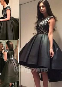 Bateau A-line Black Taffeta Ruched Zipper Crystals High Low Sleeveless Homecoming / Cocktail Dresses