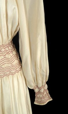 Vintage Clothing 1920s Dresses | Vintage late 20s or early 1930s champagne silk dress with red smocking ...