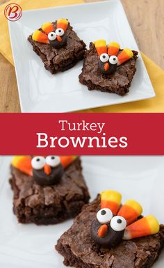 Cutest Thanksgiving Brownies You've Ever Seen An adorable addition to your Thanksgiving kids' table, these gobble-y good brownies are ready in a snap thanks to Betty's Fudge brownie mix.An adorable addition to your Thanksgiving kids' table, these gobble-y Thanksgiving Desserts Easy, Holiday Desserts, Holiday Baking, Holiday Treats, Holiday Recipes, Thanksgiving Food Crafts, Thanksgiving Turkey, Thanksgiving Recipes For Kids To Make, Christmas Sweets