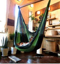 チェアハンモック スーパーコットン ガーデン garden Garden Chairs, Hammocks, Lanai, Outdoor Furniture, Outdoor Decor, Hanging Chair, My Dream Home, Nook, Interior And Exterior
