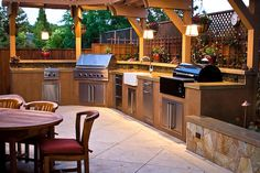 52 Designer Patio Ideas 52 Designer #Patio Ideas | The best #OutdoorKitchens have two different types of grills, one gas, one for charcoal or wood burning. This gives you options when you're preparing your favorite recipes!