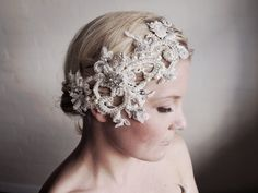 Lace Bridal Headpiece  1920s Bridal Headpiece  by gadegaarddesign, $169.00