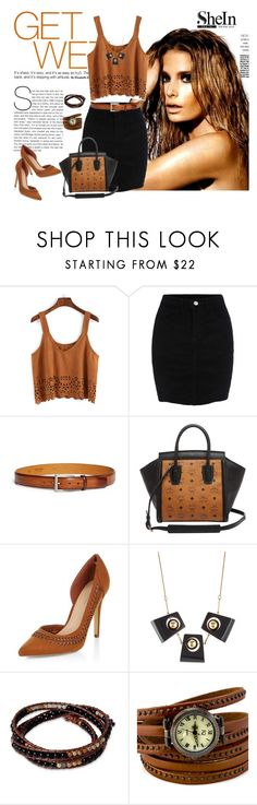 """""""SheIn suede cami top"""" by lorrainekeenan ❤ liked on Polyvore featuring Magnanni, MCM, New Look, Marni and NOVICA"""
