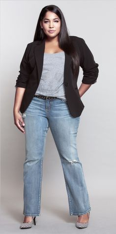 Blue jeans, black cots, black and white shoes and grey tee shirt plus size