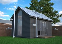 Dual pitched roof garden offices should be no taller than 2.5m high at the eaves and 4m at the ridge. They also need to be sited at least 2m from each boundary