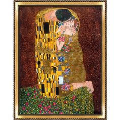 'The Kiss' full view by Klimt Framed Painting