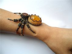 Beaded Bracelet Amber Spider by byKatushka on . Wire Wrapped Jewelry, Wire Jewelry, Jewelry Crafts, Beaded Jewelry, Handmade Jewelry, Beaded Bracelets, Jewelery, Embroidery Jewelry, Beaded Embroidery