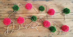Christmas Pom Pom Garland. Christmas garland handmade