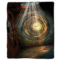 camping theme wall clock - Kisscase Custom Blanket Fantasy House Fantasy Scene With Clock Dream Sky Lights From The Ceiling Fiction Art Stars Bedroom Living Room Dorm Brown Teal >>> Want to know more, click on the image. (This is an affiliate link) #CampingIdeas