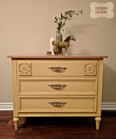 Hand painted dresser using Country Chic Paint in Bee's Knees and Cedar Antiquing Dust. www.crossroadcreations.ca
