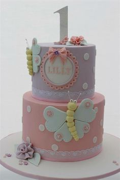 Pink & Lavender Polka Dot Cake with Mint & Lime Butterflies (Lilly)