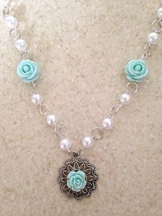Sea Green Rose Brass Pendant Beaded Link Necklace