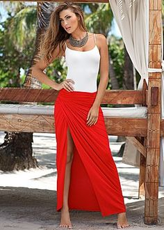 Cami, ruched front maxi skirt