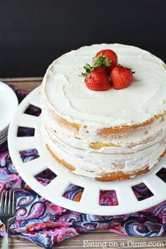 Learn how to make a vanilla cake from scratch! This homemade vanilla cake recipe from scratch is so easy. Vanilla cake from scratch is so better than a mix. Easy Homemade Cake, Homemade Vanilla Cake, Homemade Cake Recipes, Vanilla Cake Recipe Without Baking Powder, Perfect Vanilla Cake Recipe, Easy Sugar Cookies, Sugar Cookies Recipe, Easy Birthday Cake Recipes, Strawberry Cake Recipes