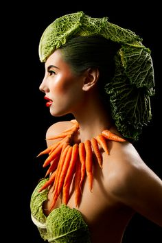 Veggie accessories i http://talent.adweek.com/gallery/1376429/Food-Inspired-Make-up-Hair-Designs