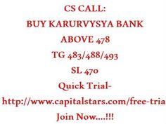 CS CALL: BUY KARURVYSYA BANK ABOVE 478  TG 483/488/493  SL 470  Quick Trial-http://www.capitalstars.com/free-trial Join Now....!!!