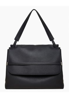 The Row Shoulder Bag in black leather.  Classic, understated, traditional handbag.