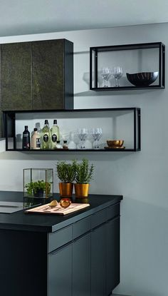 Rectangular open shelves in the kitchen as a kitchen inspiration - Modern Küchen Design, Decorating Blogs, Open Shelving, Double Vanity, Floating Shelves, Home Goods, New Homes, Cabinet, Kitchen