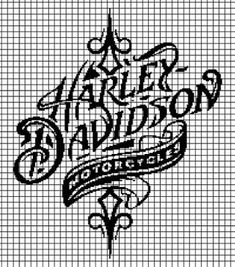 Harley Davidson (Chart/Graph AND Row-by-Row Written Instructions) - 05 Crochet Stitches Patterns, Crochet Chart, Filet Crochet, Cross Stitch Charts, Cross Stitch Patterns, 8bit Art, Harley Davidson Logo, Beading Tools, Graph Design