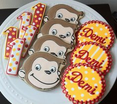 Curious George Decorated Cookie Favors, with monkey, number, and personalized name round. $48.00, via Etsy.