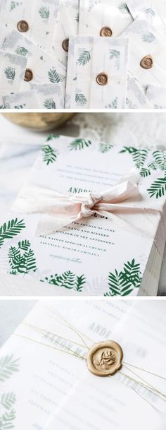 green fern wedding invitations with a vellum wrap and gold wax seals from hello tenfold, greenery invites