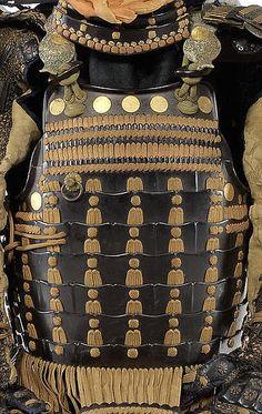 Nuinobe dou (kiritsuke iyozane), Edo period, black-lacquered with leather covered hinged gyoyo.