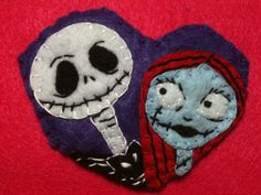 nightmare before christmas inspired jack & sally valentine hand sewn felt embroidered hair clip brooch