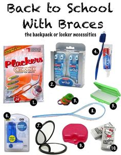 Back-to-School With Braces: The Backpack or Locker Necessities  <a class='pintag searchlink' data-query='%23braces' data-type='hashtag' href='/search/?q=%23braces&rs=hashtag' rel='nofollow' title='#braces search Pinterest'>#braces</a>. Another way to get these all in one place is to buy the Braces Survival Kit from <a href='http://www.DentaKit.com' rel='nofollow' target='_blank'>www.DentaKit.com</a> - very handy, and in different versions for teens or adults.