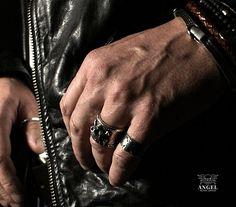 Dust N' Bones - 100% Sterling Silver Ring - Set of the 3 Rings - Rocker Ring - Handmade Jewelry - Skull Ring