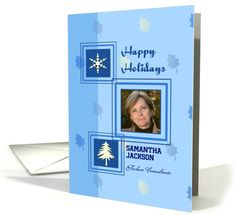 Business happy holidays custom card with snowflake and Christmas tree card