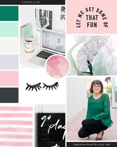 Mood board for lupita & co, online business management and strategy, virtual assistants, luxury feminine brand styling and web design for female entrepreneurs. Inspiration board of typography, brush script font, sans serif, bright pastel color palette, mint, pink, lilac, paint strokes, pattern, business owner, blogger.. See more for brand board, social media branding & printed materials.