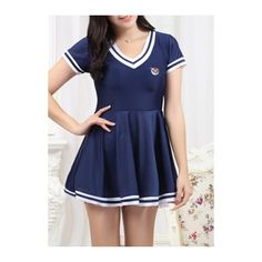 Rotita Striped Short Sleeve Swimdress and Navy Blue Shorts ($34) ❤ liked on Polyvore featuring swimwear, one-piece swimsuits, navy blue, navy striped swimsuit, navy blue one piece swimsuit, padded one piece swimsuit, padded swimsuits and striped swimsuit