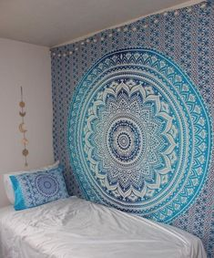 Blue Ombre Mandala Bohemian Psychedelic tapestry wall hangings Ethnic Dorm Decor Indian Bedspread Magical Thinking Tapestry 84 x 90 Inches Room Tapestry, Blue Tapestry, Indian Tapestry, Mandala Tapestry, Tapestry Wall Hanging, Wall Hangings, Bohemian Tapestry, Mandala Art, Bohemian Decor