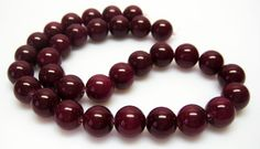 Plum Jade Gemstone Beads  12mm Round Beads  Full by HazelsBeadShop, $12.00